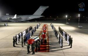 Bodies of fallen Emirati martyrs arrive in Abu Dhabi