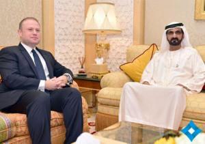 Sheikh Mohammed receives Prime Minister of Malta