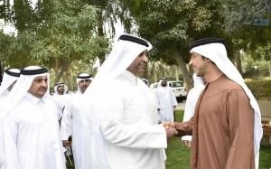 Sheikh Mansour receives Qatars Minister of Economy