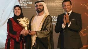PM presents Palestinian teacher with Global Teacher Prize