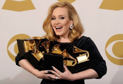 Adele triumphs at Grammys with six awards