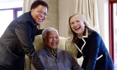 Clinton meets Mandela in rare visit at his home
