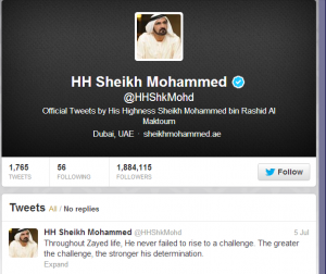 Sheikh Mohammed Among Tweeter's famous Political Figures