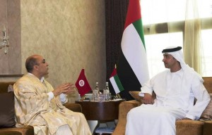 Sheikh Hazza bin Zayed receives outgoing envoys