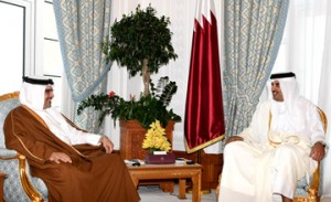 HRH Crown Prince meets Emit of Qatar